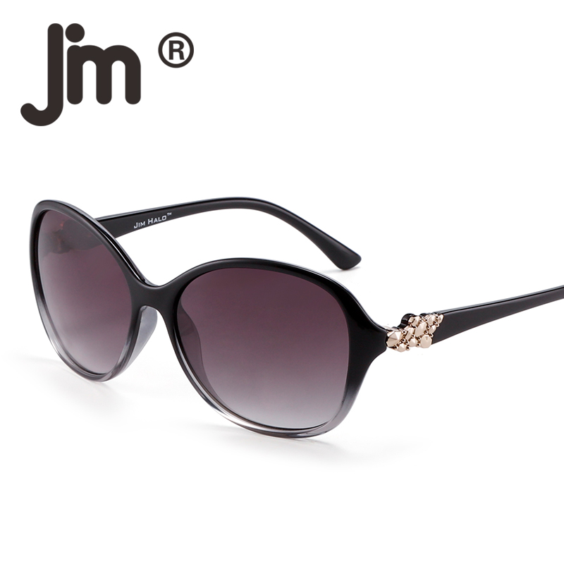JM Oversized Gradient UV400 Protection Sunglasses Classic Round Rhinestone Eyeglasses Women