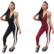 купить Sexy Rompers Womens Deep V Sleeveless Jumpsuit Overalls Femme Side Striped Playsuit Fashion Halter backless Bodycon Bodysuit по цене 480.67 рублей