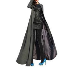 Yfashion Women Slim Fit Large Split Ends Long Coat Woollen Cloth Fashion Wind