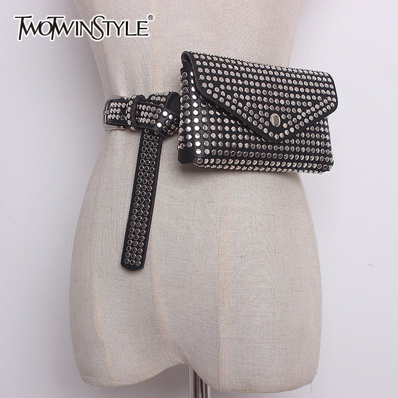 GALCAUR Rivet Belt With Bag Pu Leather Patchwork Removable Big Handbag Long Belts Summer Autumn Fashion Female Accessories