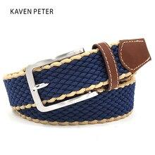 Men's Fabric Leather Elastic Woven Stretch Belt 1-3/8″ Wide New Elastic Canvas Belt Men Casual Elastic Strap Silver Buckle