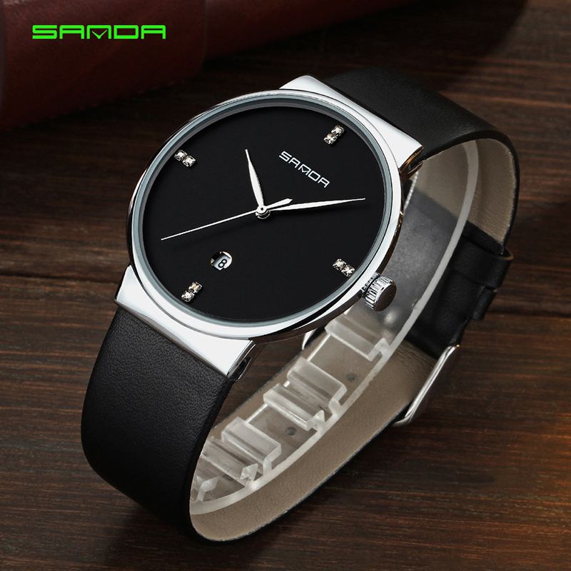 SANDA Men's Wristwatch Top Brand Luxury Famous Male Clock Business Quartz Watch Genuine Leather Simple Watches Relogio Masculino new listing men watch luxury brand watches quartz clock fashion leather belts watch cheap sports wristwatch relogio male gift