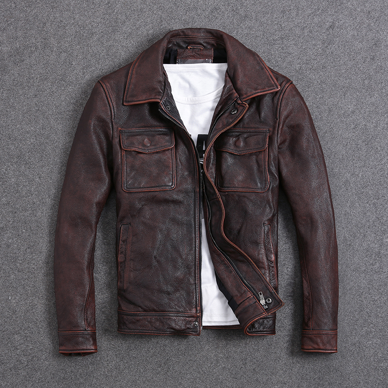 HTB1vMo.a8Cw3KVjSZFuq6AAOpXag Free shipping.Plus Size classic leather jacket,short genuine leather coat,vintage brown mens slim leather coat.business,sales