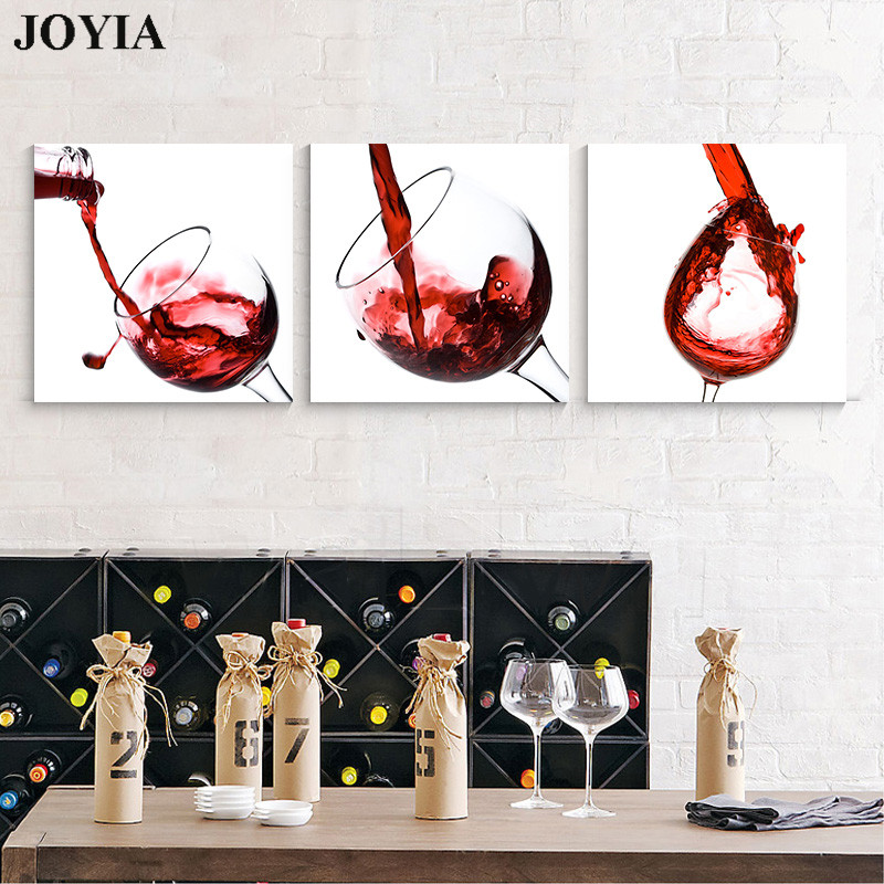 Hot Sale 3 Piece Large Wall Hanging Art Pictures Glass Pouring Wine ...