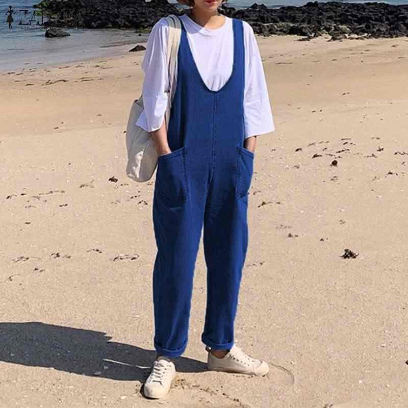 2019 ZANZEA модные джинсовые синие комбинезоны женские повседневные Длинные Комбинезоны с ремешками летние винтажные вечерние Свободные Комбинезоны для девочек