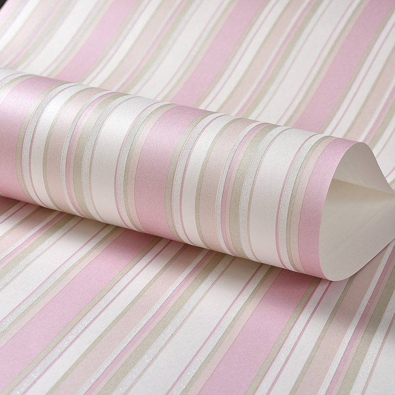 Children Room Non-woven Vertical Striped Wallpaper 3D Pink Blue Stripes Girls Bedroom Wall Decoration Wallpaper For Walls Roll