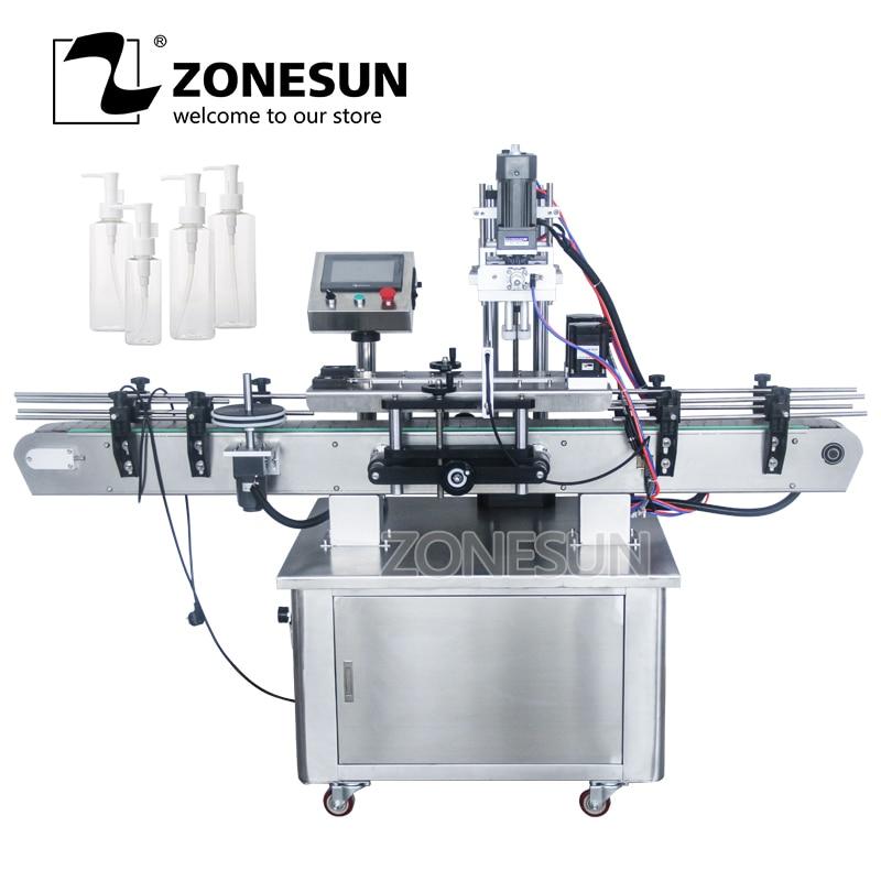 ZONESUN Automatic Desktop Electric Plastic Glass Perfume Shampoo Cosmetic Nail Polish Bottle Capping Machine Auto Capper