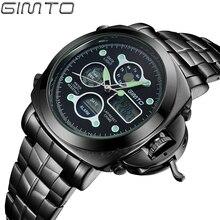 Бизнес мужчины наручные часы кварцевые часы GIMTO Роскошные спортивные часы моды водонепроницаемый стальной ленты будильник relogio masculino