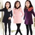 Детские детская одежда 2016 новая весна sweet цветок лук кружева девушки одевает детей принцесса девушки одежду девочка вечернее платье