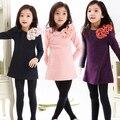 Bebé ropa de los niños 2016 nueva primavera sweet arco de encaje de flores vestidos de las muchachas muchachas de la princesa niños ropa de niña vestido de fiesta