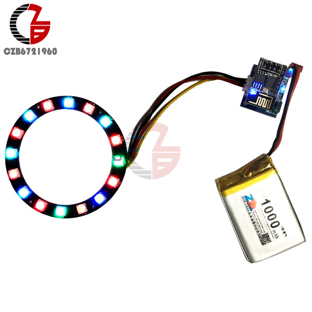 US $3 9 17% OFF|DIY Kit WS2812 RGB Ring Light ESP8266 ESP 01 ESP 01S RGB  LED Controller Adapter Module 3 7V 5V DC for Arduino IDE-in Light Beads  from