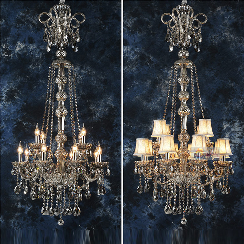 Crystal chandeliers modern chandelier bedroom kitchen living room gray glass  chandeliers lamp Interior Lighting Home modern iron crystal european style chandeliers e27 retro luster chandelier vintage led lighting for living room kitchen bedroom