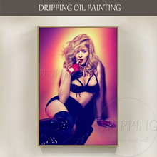 Top Artist Hand-painted Super Star Singer Madonna Oil Painting on Canvas Beautiful American Portrait