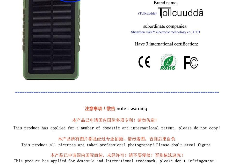 Tollcuudda Solar Panel Power Bank 100mAH Battery External Celular Charger Cargador For Xiao Mi universal Phone Solar PoverBank 29