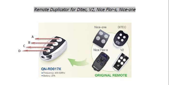 V2 PHOENIX TSC2 TSC4 TRC2 TRC4 TXC2 TXC4 HANDY2 DITEC GOL4,BIXLG4,BIXLS2, 433.92 MHz Rolling Code  Universal Remote Replacement