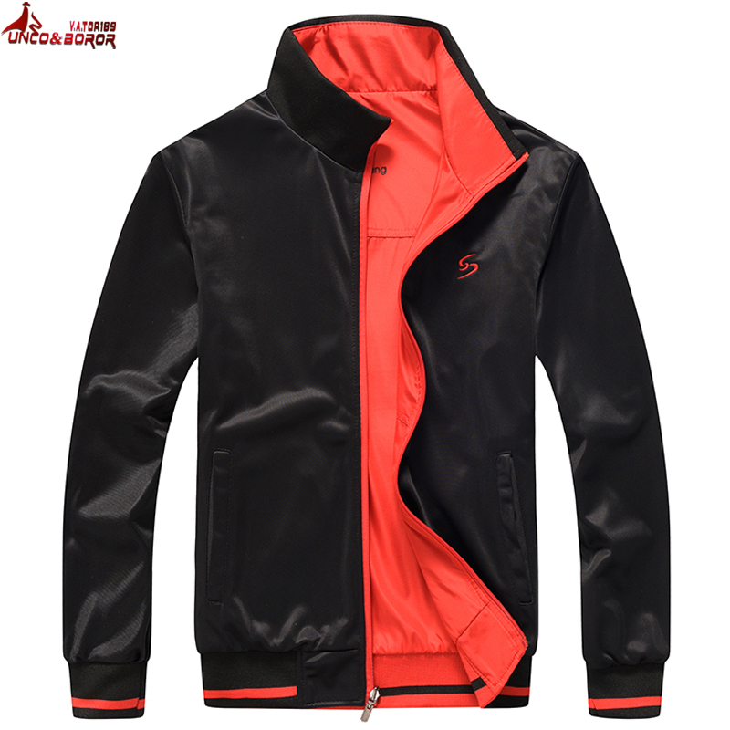 Big Size L~7XL Men`s Sportswear Spring Autumn Jacket Outwear Double-sided Wear Male Sporting Jacket Men Bomber Jackets And Coats