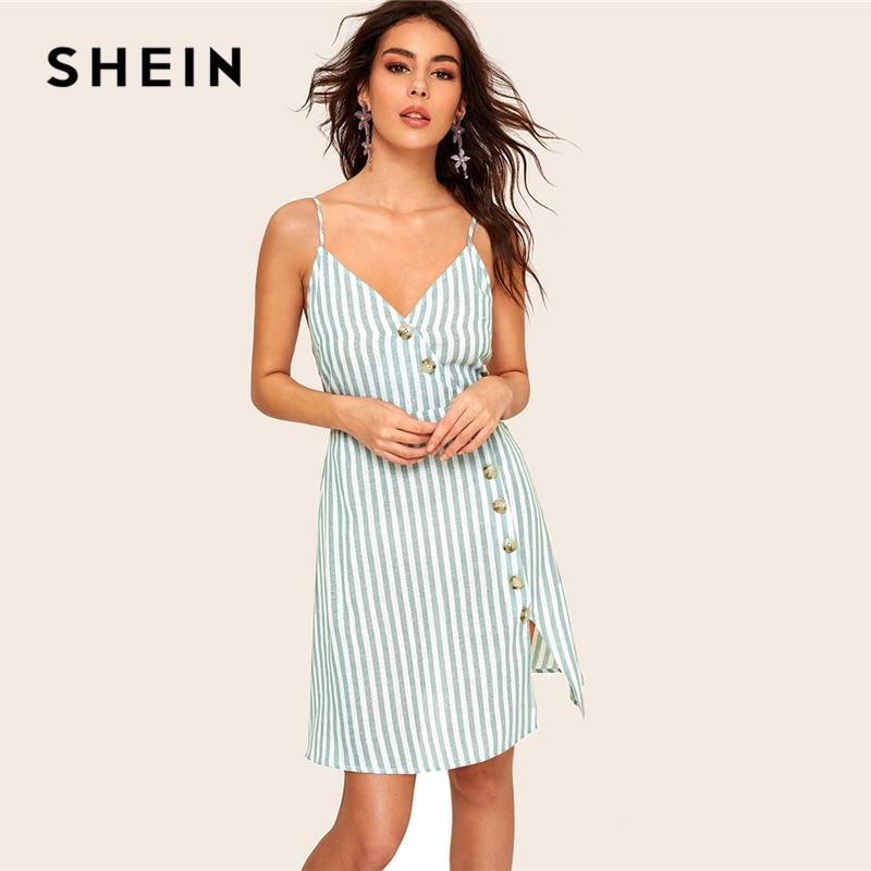 Шеин Асимметричная на пуговицах планка полосатый Cami платье для женщин лето зеленый спагетти ремень без рукавов Fit and Flare