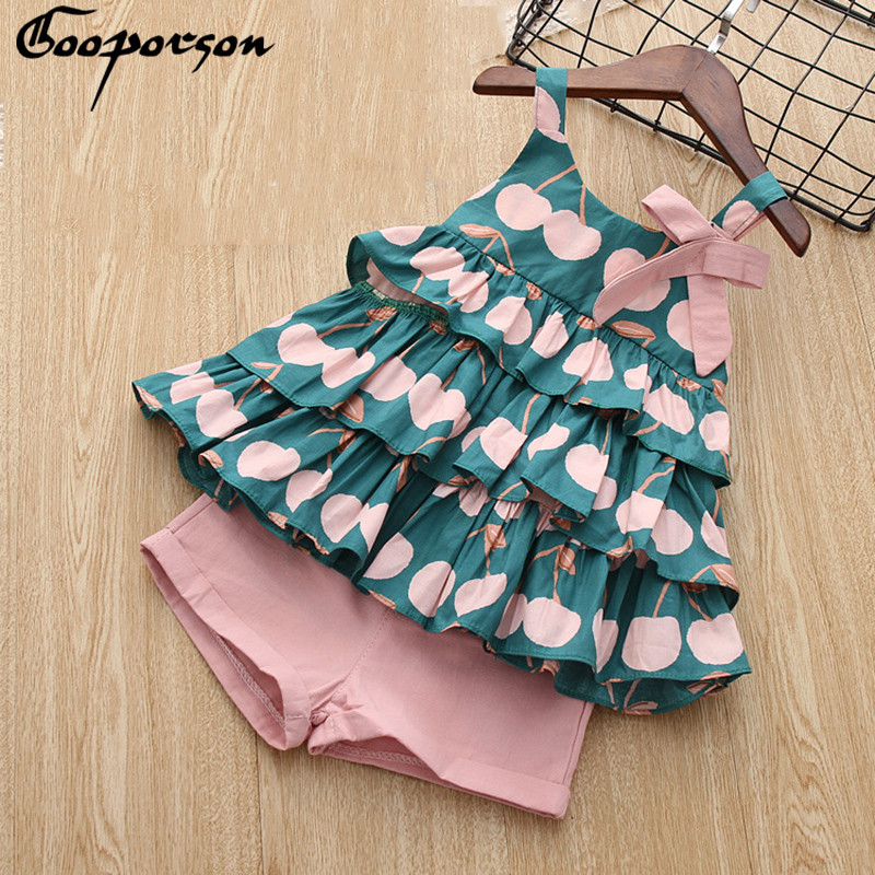 New Brand 2018 Girls Summer Clothes Set Cake Shirt And Pink Short Pants Cotton Lovely Cute Sets For Children And Kids Sundress