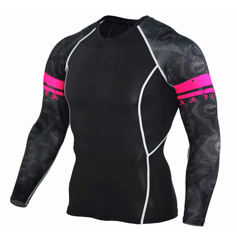 جديد الرجال ضغط ضيق الجلد قميص MMA طويل الأكمام 3D يطبع Rashguard اللياقة البدنية قاعدة طبقة الوزن رفع الذكور قمم ارتداء