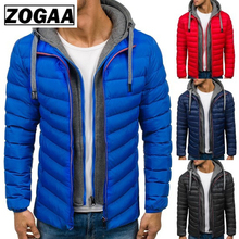 ZOGAA Winter Coat Men Casual Hoodied Bubble Cotton Padding Parka Clothing Jacket 7colors
