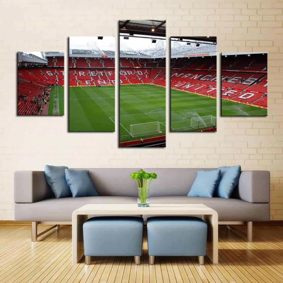 Wohnzimmer HD Gedruckt Home Decor Malerei 5 Stück/pcs Fußballplatz ...