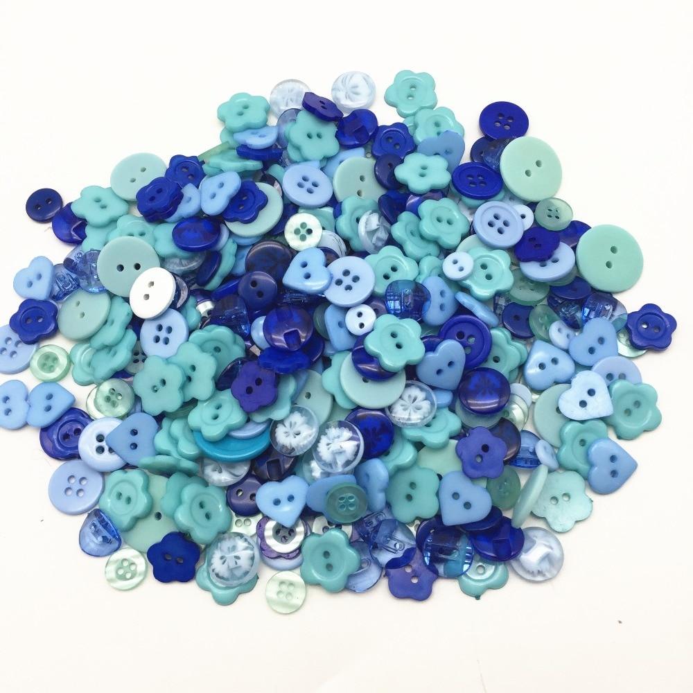 100pcs Dark Blue Mixed 2 hole Resin buttons Decor Sewing Scrapbooking 6mm