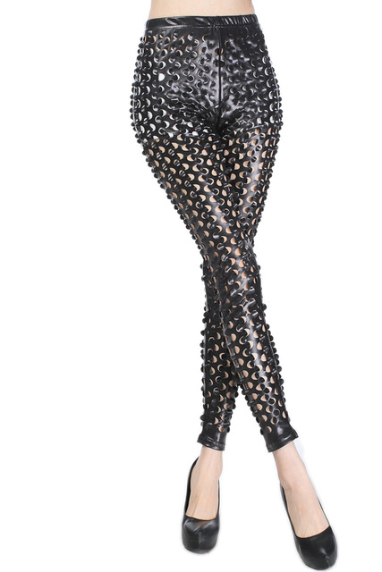 Sexy Elastic PU Leather Gothic Punk Legging for Shemale & Crossdressers