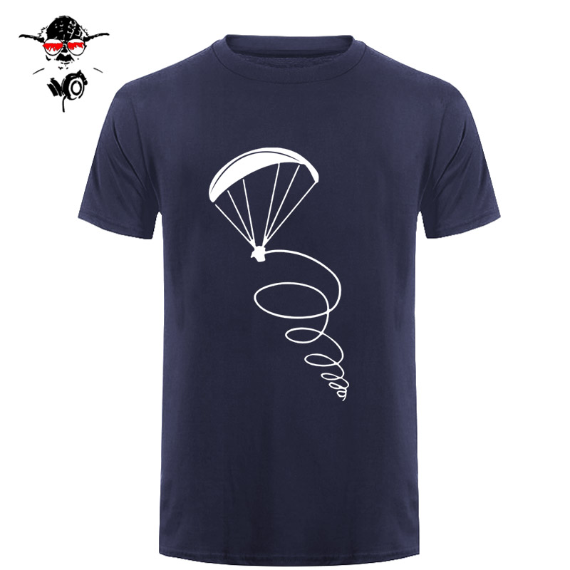 Summer new Fashion men   t  -  shirt   paragliding fly pilot Design man cotton Short Sleeve   T     Shirt   Tops