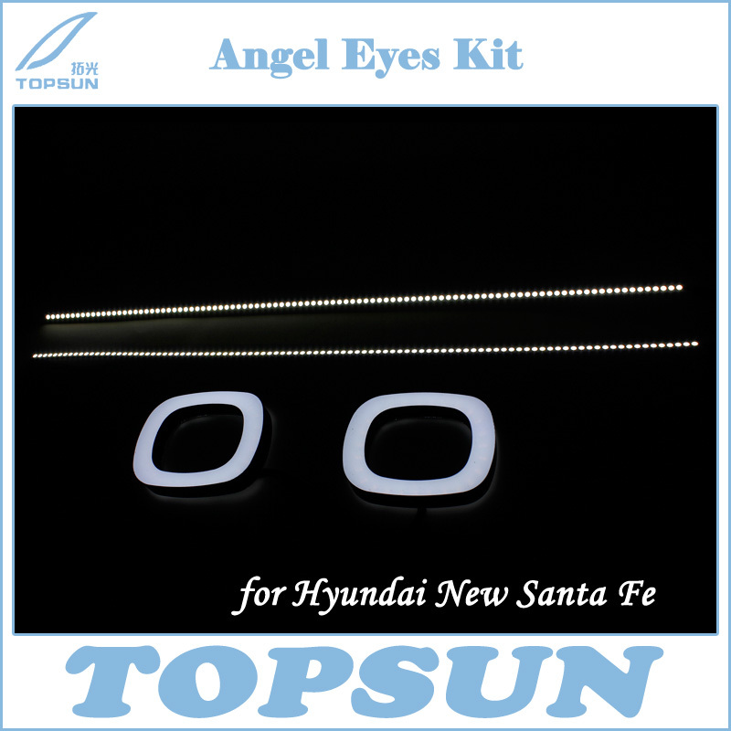 Hyun dai New Santa Fe Exclusive Use Square Shape LED Angel Eye Custom DRL and Turn