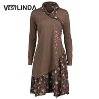 VESTLINDA Plus Size Asymmetric Floral Panel Tunic Top Blouses Women Casual Shawl Collar Long Sleeves Button