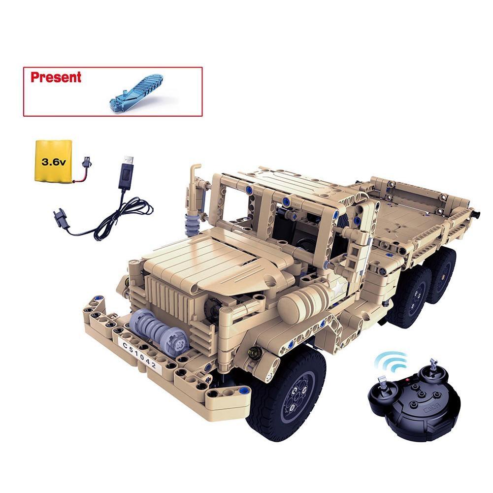 C51042W Remote Control Building Block Military Truck Electric Boy Remote Control Car font b RC b