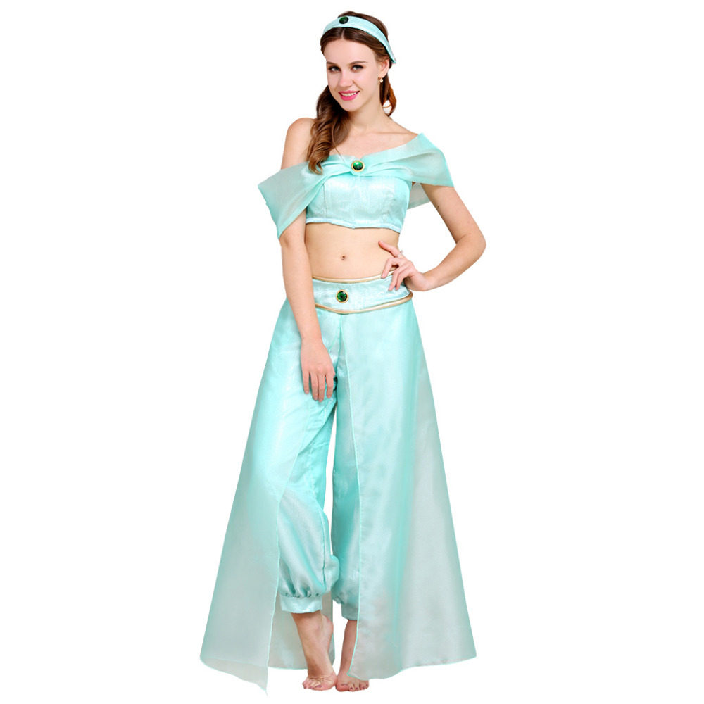 Aladdin Jasmine Princess Dress Outfit Costume Halloween Carnival Party Dress Cosplay Costume