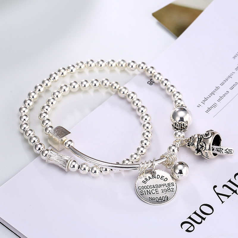S925 pure silver beads, silver beads, Lucky cat, round card, personality, wild woman, hand chain, hand chain wholesale. s925 pure silver personality female models new beeswax