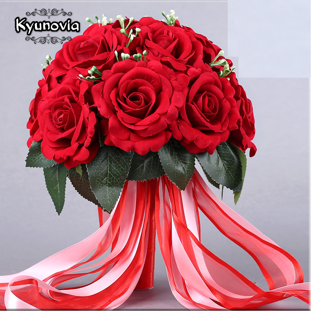 Real Weddings Decorations: Kyunovia 15PCS Red Real Touch Rose Wedding Bouquets