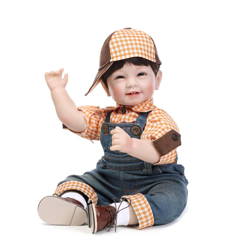 22inch 55cm Lifelike Reborn Baby Lovely Girl Doll High Vinyl Christmas Toy Gift for Children Smile Khaki Brown Hat [mmmaww] christmas costume clothes for 18 45cm american girl doll santa sets with hat for alexander doll baby girl gift toy