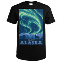 New Summer Style Northern Lights Skagway Alaska O-Neck Short Sleeve Office Mens Tee Cheap Sale 100 % Cotton T Shirts For Boys