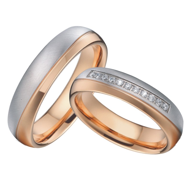 цена на Wedding Band Mens Rings bague femme anel feminino anillos mujer Rose Gold Color Couple Engagement Rings For Women