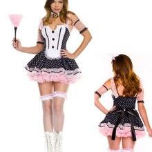 Сексуальный женский костюм на Хэллоуин, Французская горничная, одежда для официанта, маскарадный костюм