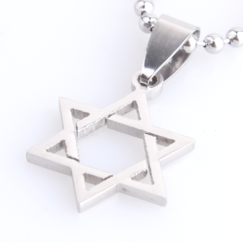 10pcs lot Small judea Hexagram David star 316L Stainless Steel pendant  necklaces bead chain for men women wholesale 2e06219670d3