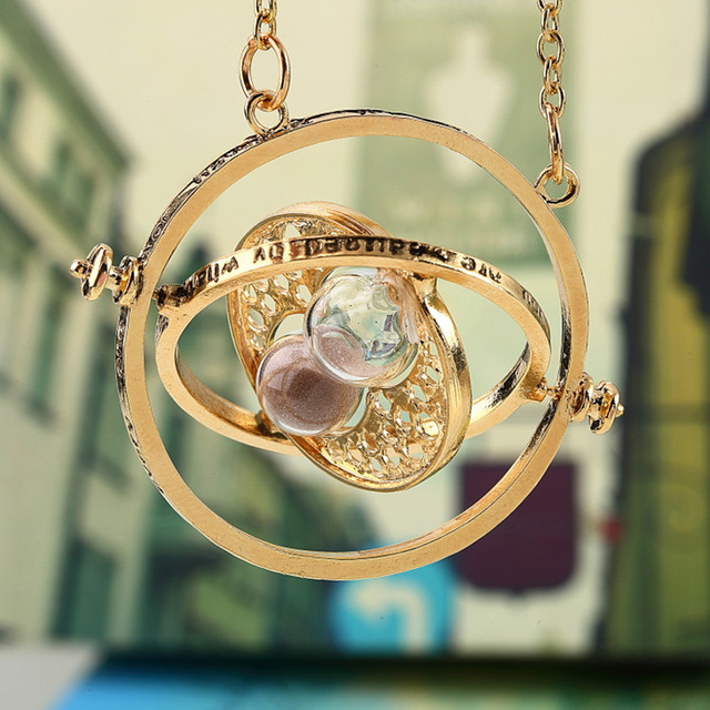7f20c2a8d Gold Plated Magic Time Turner Necklace Women Jewel Sand Glass Sand Clock  Pendant Lady Party Dress Hermione Sweater Necklace