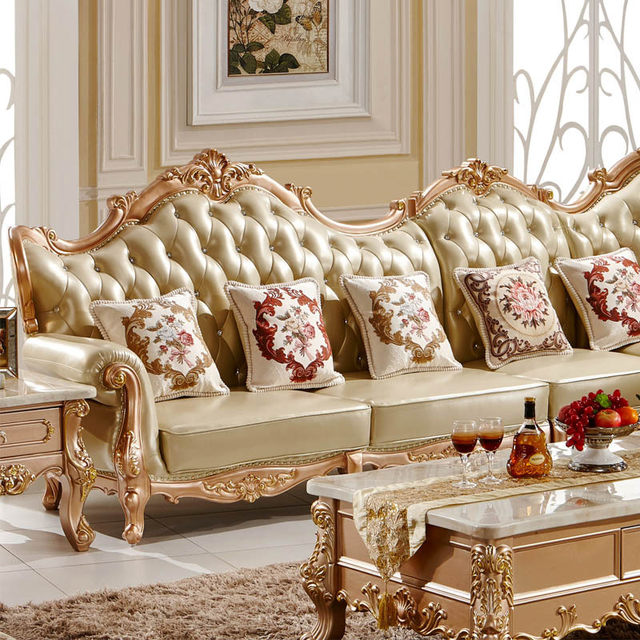 Solid Wood L Shape Full Leather Sofa Set For Gold Colour