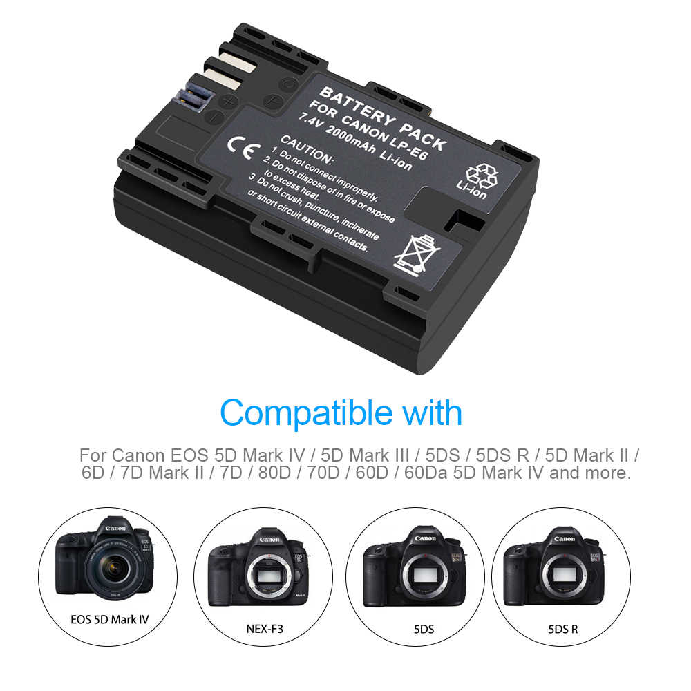 4x lp e6 lpe6 LP-E6 e6n bateria 2000 mah + lcd carregador duplo para canon eos 5ds r 5d mark ii 5d marca iii 6d 7d 80d eos 5ds r câmera