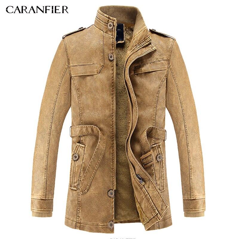CARANFIER 2017 New Men Long Leather Jacket British Style Casual Businessmen Male Long Windproof Warm Leather Outwear Parka L~3XL