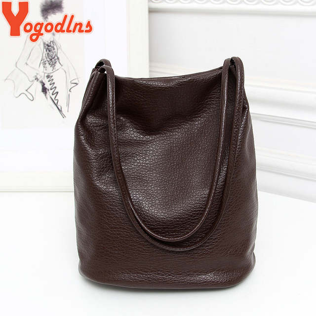 placeholder Yogodlns Women Leather Handbags Black Bucket Shoulder Bags  Ladies Cross Body Bags Large Capacity Ladies Shopping 311e500e22786