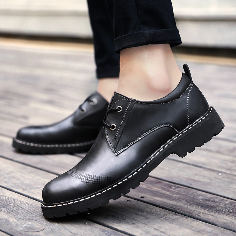 Fashion men 39 s shoes casual leather spring autumn breathable lace up shoe man thick soles waterproof work shoes for men size38 44 in Men 39 s Casual Shoes from Shoes
