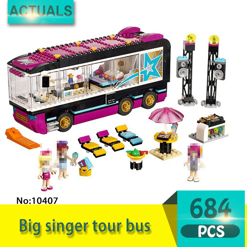 bela 10407 684Pcs Friends series Big singer tour bus Model Building Blocks Set  Bricks Toys For Children  Gift Girl toy 1 43 ankai bus sightseeing tour of london bigbus big bus diecast model bus open top