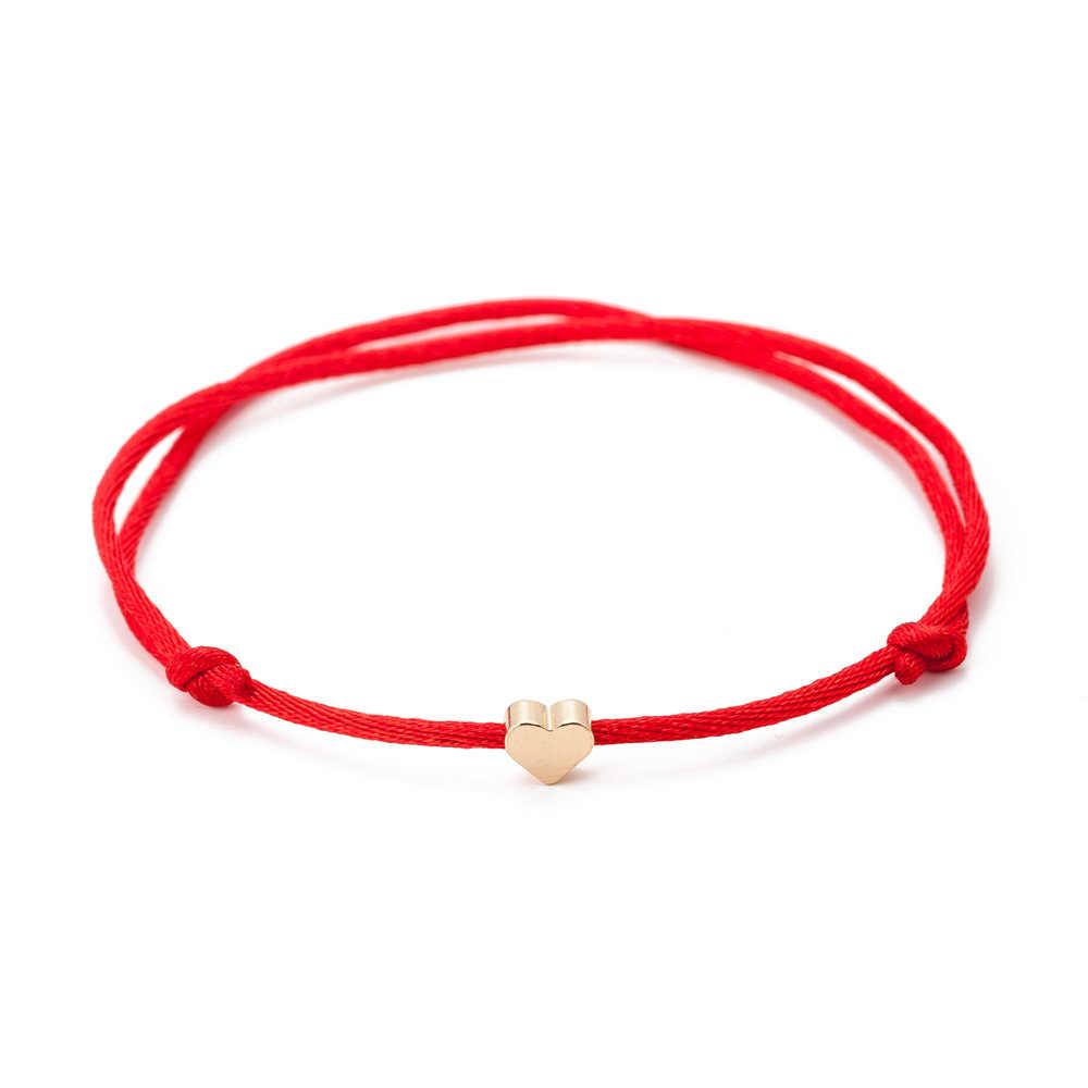 Đơn giản Màu Vàng Trái Tim Chủ Đề Có Thể Điều Chỉnh Vòng Đeo Tay Cho Phụ Nữ Người Đàn Ông Làm Bằng Tay Màu Đỏ Sợi Dây Thừng Đồ Trang Sức