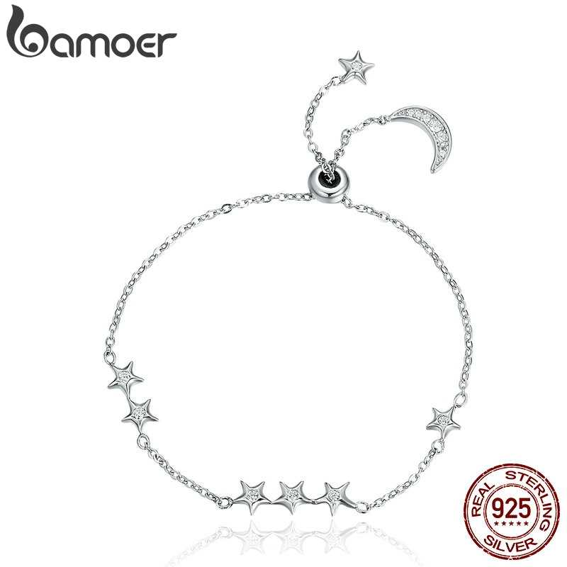 BAMOER New Arrival Genuine 925 Sterling Silver Sweet Whisper of Moon & Star Clear CZ Link Bracelet Luxury Silver Jewelry SCB007
