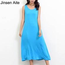 Jinsen Aite Women Sleeveless Modal Summer Dress 2019 Plus Size 5XL 6XL O-Neck Casual Fashion Loose Ladies Dresses Big JS151