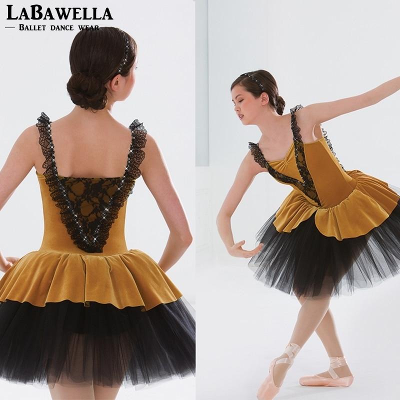 Girl dance costume yellow Bodice Ballet Tutu child stage Performance ballet costume romantic tutu kids ballet costumeBL0063